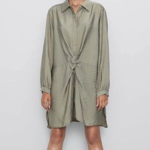 ZARA KNOT FRONT OLIVE TAUPE SHIRT DRESS TUNIC TOP